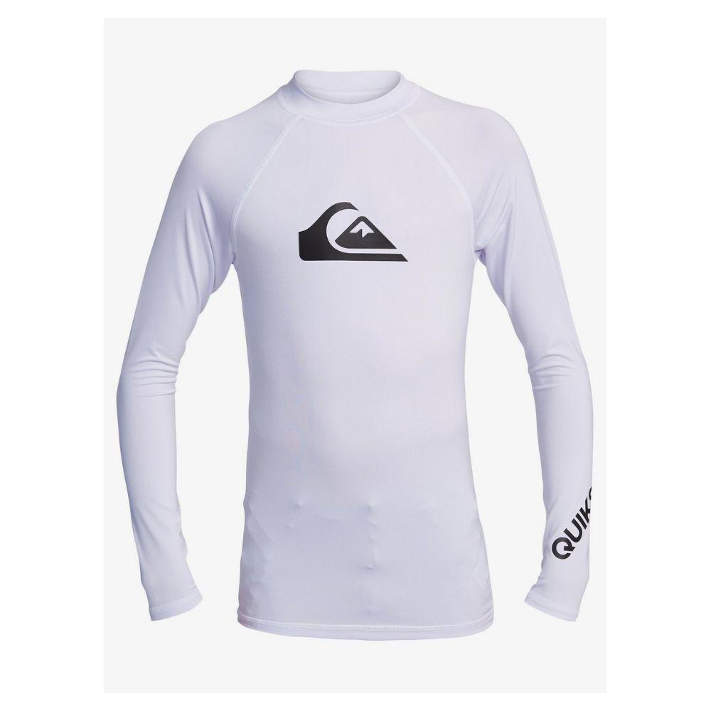 Quiksilver All Time LS Youth Boys UV Rash Vest - White