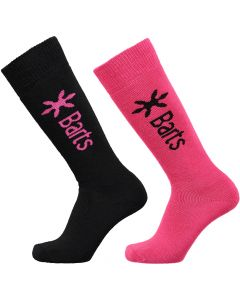 Barts Twin Pack Ski Socks, Fuschia & Black, From Adult UK 2