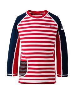 Didriksons Surf Kids LS UV Top2 Chili Red Simple Stripe
