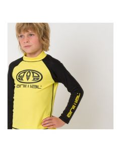 Animal Fontaine Boys Rash Vest, Bright Yellow (long sleeve)