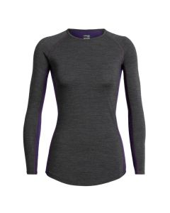 Icebreaker Womens 200 Zone LS Crewe Thermal Top - Jet Heather/Lotus