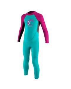 O'Neill Toddler Reactor Girls 2mm Full Wetsuit - Light Aqua/Graphite/Berry