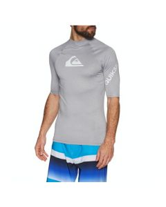 Quiksilver All Time Short Sleeve Mens Rash Vest - Sleet Heather
