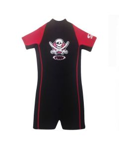 Boys Pirate Shortie 2mm Wetsuit, Red/Black